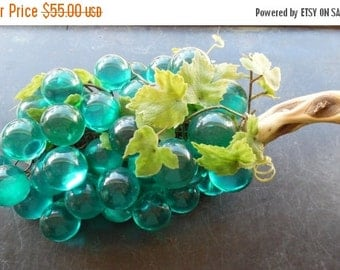 ON SALE Vintage 1960's Mid Century Aqua Blue Lucite Glass Grape Cluster, A Bunch of Grapes Grape Leaves Branch