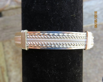 Sterling Silver Wire Wrap Bangle Bracelet