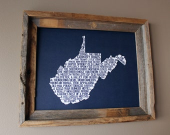 West Virginia In A Nutshell Word Art Map Print (Dark Blue) - Unframed
