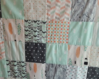 Coral and Mint Woodland Nursery Bedding, Tribal Baby Quilt in Mint and Coral, Modern Nursery Quilt, Woodland Baby Quilt