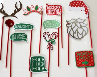 Christmas/Holiday Photo Booth Props- Set of 12