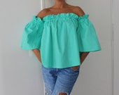 NEW SS16 Mint polka dots Maxi Top, Ruffle top, Ruffle blouse, Cotton top, Oversized top, Maxi top, Polka dots blouse, Tunic , Top,Summer top