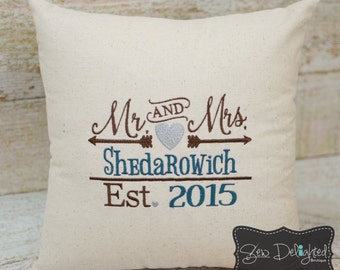 "Embroidered ""Mr & Mrs"" Personalized Pillow"