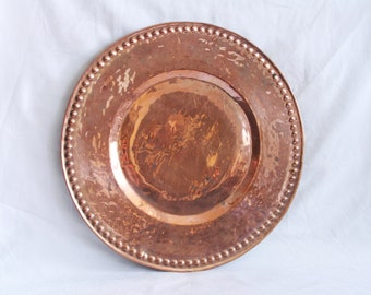Decorative vintage copper plate, handmade bumped design, protruding bumps on rim, trinket tray, home decor, round plain bright centerpiece