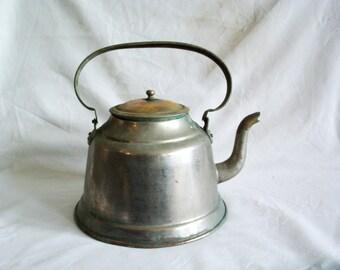 Rustic kettle vintage copper, weathered teapot. Tinned decorative old tea pot, VERDIGRIS, Kitchen decor, silvertone old metalware, tea time