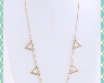 Matted Gold Chevron Necklace