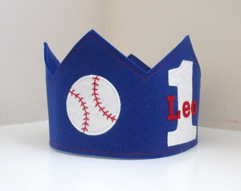 Baseball Crown, Birthday Crown, Personalized, Boy Birthday, Sports, Wool Felt