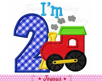 Instant I'm 2 With Train Applique Machine Embroidery Design NO:1978