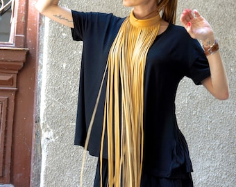 NEW Collection  Mustard Extravagant Fringe Long Leather Necklace   by AAKASHA A16192