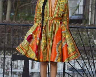 AMORA - African Ankara Orange Dashiki Wrap Dress Jacket Ready to Ship