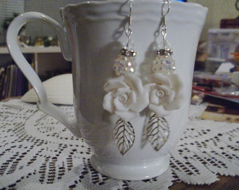 White Rose Earrings - Free Shipping