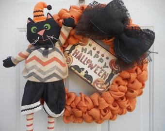 Halloween Cat wreath Cat wreath Halloween burlap wreath Halloween orange burlap wreath Halloween burlap wreath Halloween burlap cat RTS
