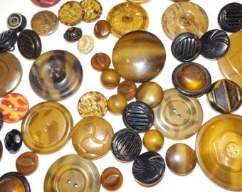 1930s Buttons, Art Deco Design Buttons, Vintage Round Celluloid, Metal