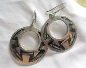 Vintage Mexican Sterling Abalone Inlay Hoop Earrings