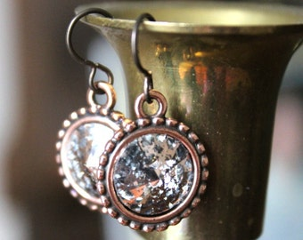 Swarovski Rivoli Stone Crystal Rose Patina Copper Earrings