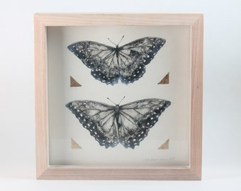 Butterfly Painting, Ink, Gold Leaf, Metallic Pigment, Framed