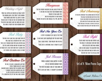 PRINTED - 1st Milestone Wine Tags Poems -Bridal Showers/Bachelorette Party/Wine Gift Baskets by Sweet Melissa Creations