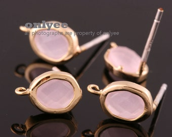 2pcs/1pair-Bright Gold plated Brass faceted New Round glass 925 sterling silver post earrings-IcePink(M394G-B)
