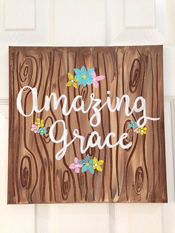 Art culos similares a amazing grace wall art art wall for Art sites like etsy