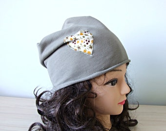 Cotton grey slouchy beanie hat, women patchwork funky heart beanie
