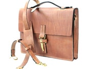 """Old World Harness Leather Briefcase 16"""" x 12"""" x 2.5"""" - 100% American made leather"""