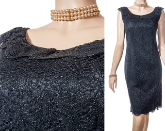 Sparkling 60's vintage fully lined all over black and silver openwork lace sleeveless side zip fastening fitted cocktail party dress - DB234