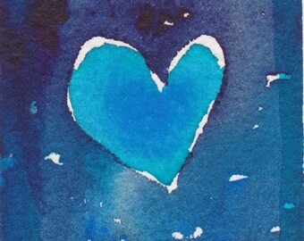 Turquoise Valentine Heart ORIGINAL ACEO Watercolor Painting, Dark Blue,  ooak Blue Heart, Small Gift Collectible, Scrap Booking Card Making,