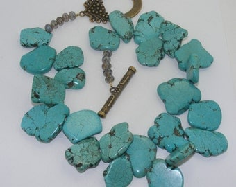 Hugh Turquoise Howlite Slab Necklace