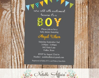 Wild with excitement Bunting Baby Shower Polka Dots Stripes Invitation - Kraft Background - blue, green, yellow, orange - no color changes