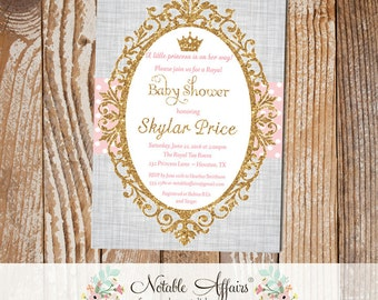 Princess Light Pink Gold Glitter on gray linen background - princess cinderella baby shower invitation - light pink can be changed only