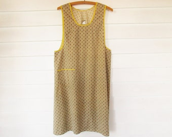 A Full Body Apron With Over-the-Head Collar and Tie Back - Fun Bright 40s Detailing - Yellow Piping - Country Kitchen - Collector