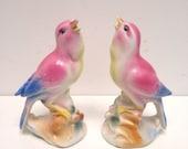 Vintage Pair matching Pink Bird Chalkware China figurines