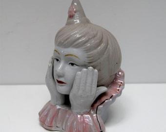 Vintage Pierrot Clown Head Figurine china figure