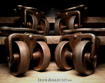 Antique Industrial Casters, Vintage Factory Cart Wheels
