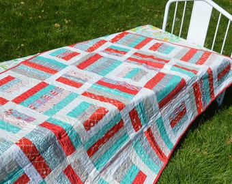 SALE Bright and  Cheerful Handmade Quilt Free Shipping