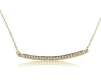 Gold Bar Necklace with Swarovski Stones - Nameplate Necklace - Swarovski necklace