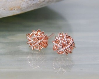 Rose Gold Stud Earrings, Rose Gold Earrings, Bridesmaids Gift, Girlfriend Gift, Rose Gold Jewellery, Valentines Gifts, Gift Ideas