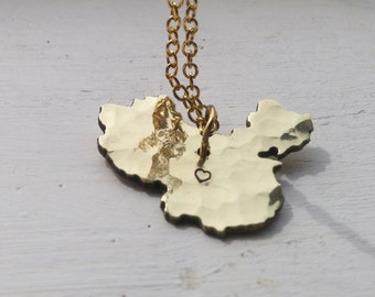 Love for China Necklace Recycled hammered brass Custom China gold necklace State Jewely