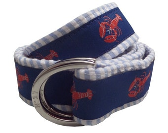Lobster on Blue Seersucker Nautical Belt/ Fabric Belt/Men's and Woman's Seersucker Belt/Lobster with Blue Seersucker Fabric D-Ring Belt