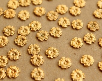 8 pc. Raw Brass Flax Flower: 7.5mm by 8mm - made in USA | RB-663