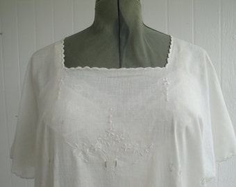 Vintage white cotton nightgown sleepwear with white embroidery cotton historical collectible