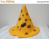 HALLOWEEN SALE Cheese and mouse Halloween Wizard Witch hat yellow felted with sauna cap tribal festival New year Christmas carnival gnome sh