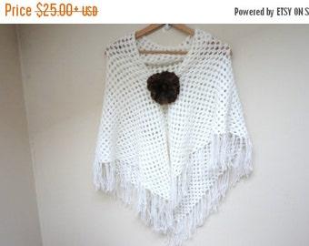 CIJ SALE Scarf shawl wrap crochet knit triangle white acrylic poncho neckwarmer handmade long soft fringed openwork with felt flower pin bro