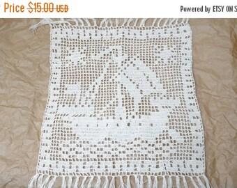 HALLOWEEN SALE Doily coaster centerpiece crochet mat pad square off white table placemat cotton handmade ship napkin folk fringed tassel kni