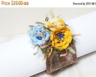 HALLOWEEN SALE Felted bracelet wrist cuff arm warmer beaded flower floral botanical free form green blue brown orange yellow crochet beaded