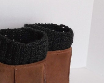 Plus Size Forest Green Alpaca Boot Cuffs Crochet Only 1 Pair Available