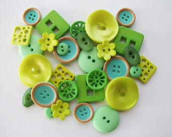Shades of Green Button Collection [B0818]
