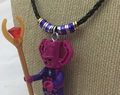 Galactus Mini Figure Character Necklace. Small figure on embellished leather cord necklace.