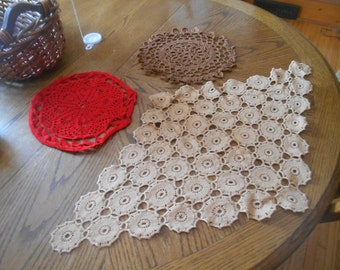 Red  Tan Brown Crocheted Doilies