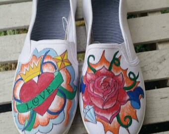 Hand painted shoes, tattoo style